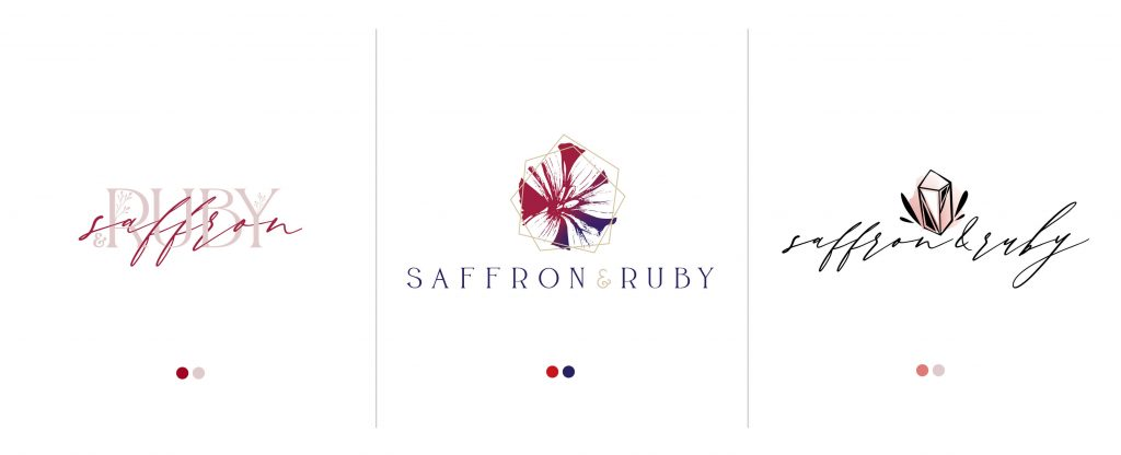 The second round of logo design for Saffron & Ruby Etsy Shop