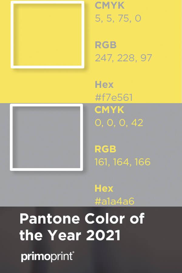 Announcing the Pantone Color of the Year 2021 PANTONE 17-5104 Ultimate Gray + PANTONE 13-0647 Illuminating.