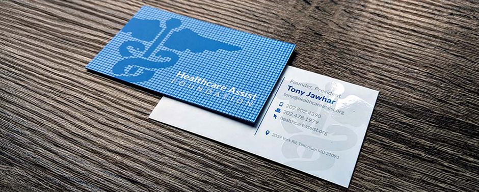 """Beautifully designed business card for Healthcare Assist Foundation. This card uses a """"Blind Spot UV"""" technique and is printed on our Silk Laminated paper."""