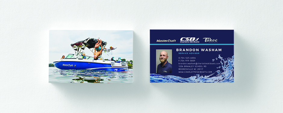 Charlotte Ski Boats shows off their product with a fun photo of it being used.