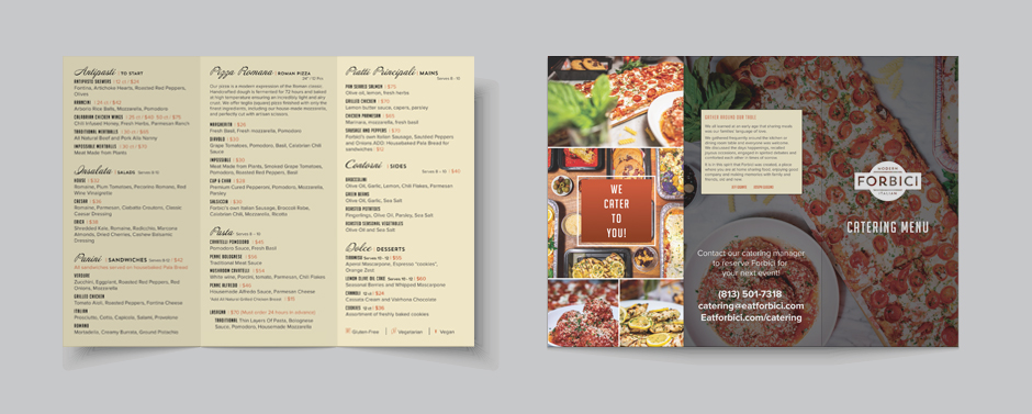 Forbici uses a standard tri-fold to display their catering menu.