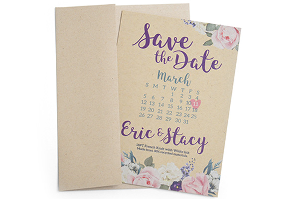 18PT French Kraft Invitations and Announcements