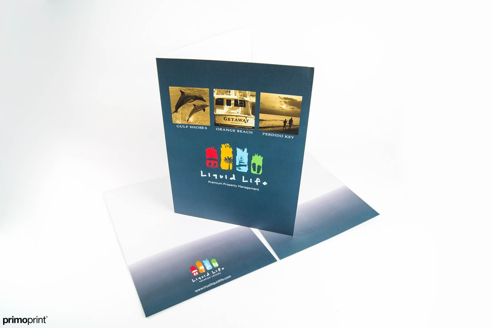 Cover stock pocket folders with a protective aqueous coating