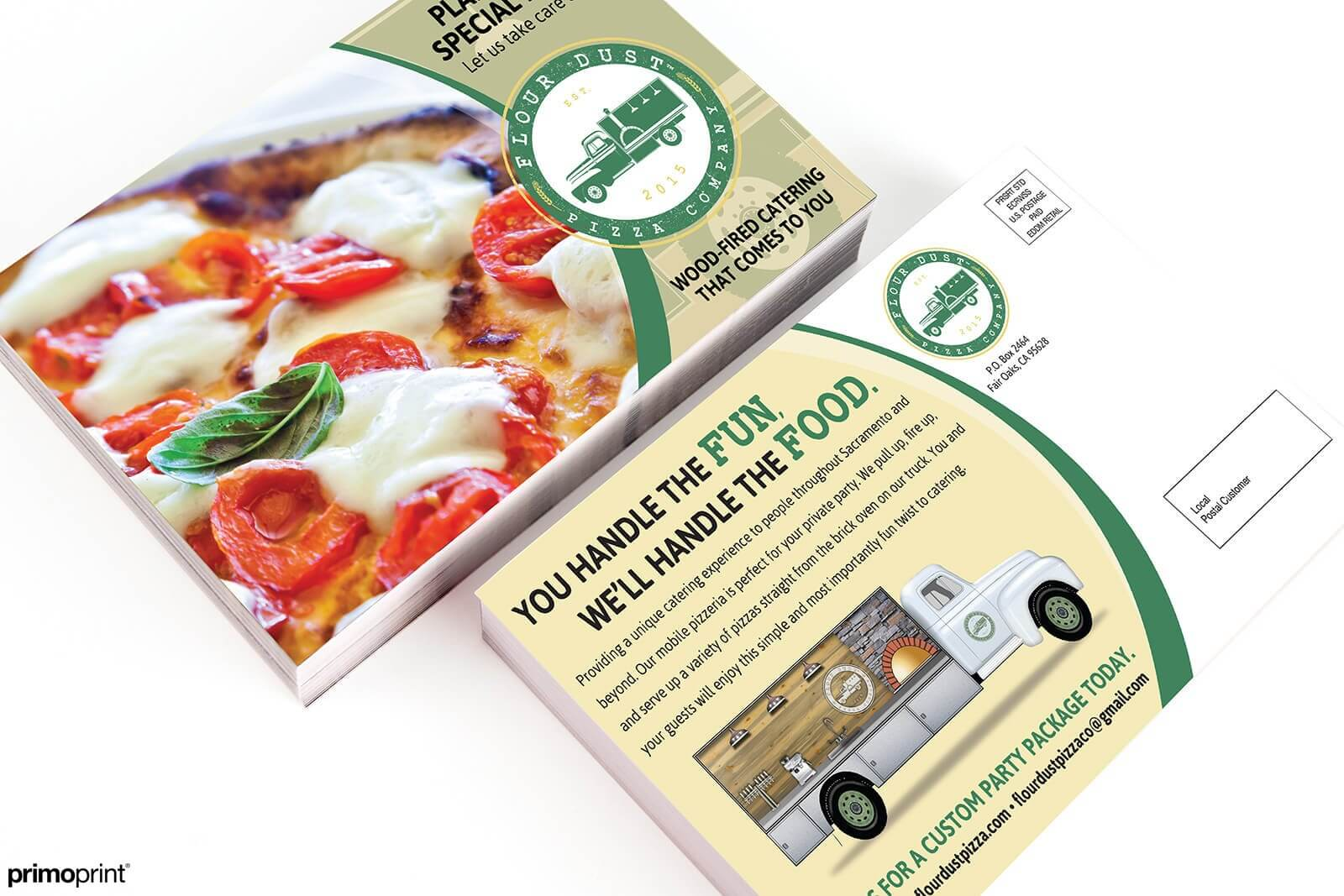 Spot UV coated EDDM® postcard printed on premium 16PT or 14PT paper stock.. Printed for a local pizza company.