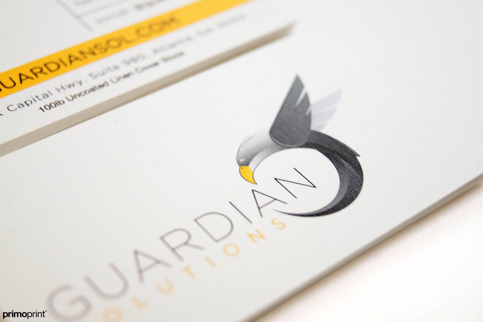 100LB Uncoated Linen cover stock business card designed by Primoprint.