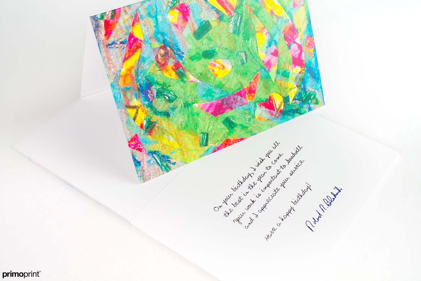 14PT Uncoated greeting card printed by Primoprint.