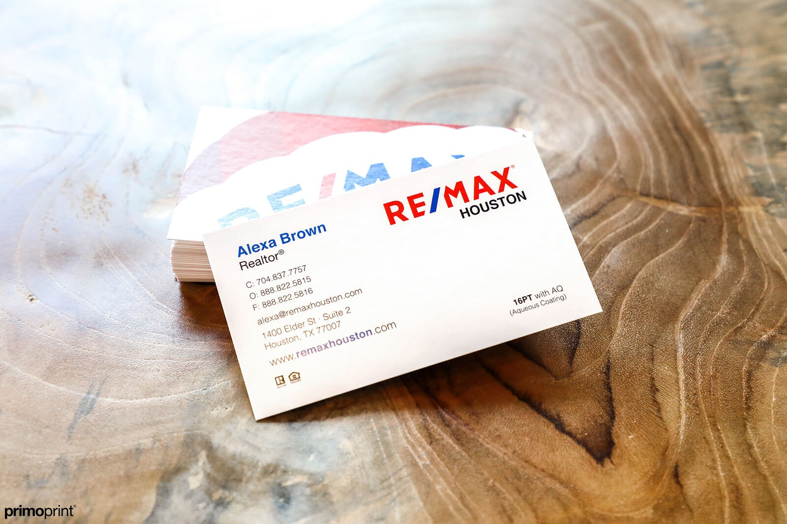 Make a statement with 16PT AQ business cards. The AQ coating helps protect the card from cracking and scuff marks. Designed and printed by Primo Print.