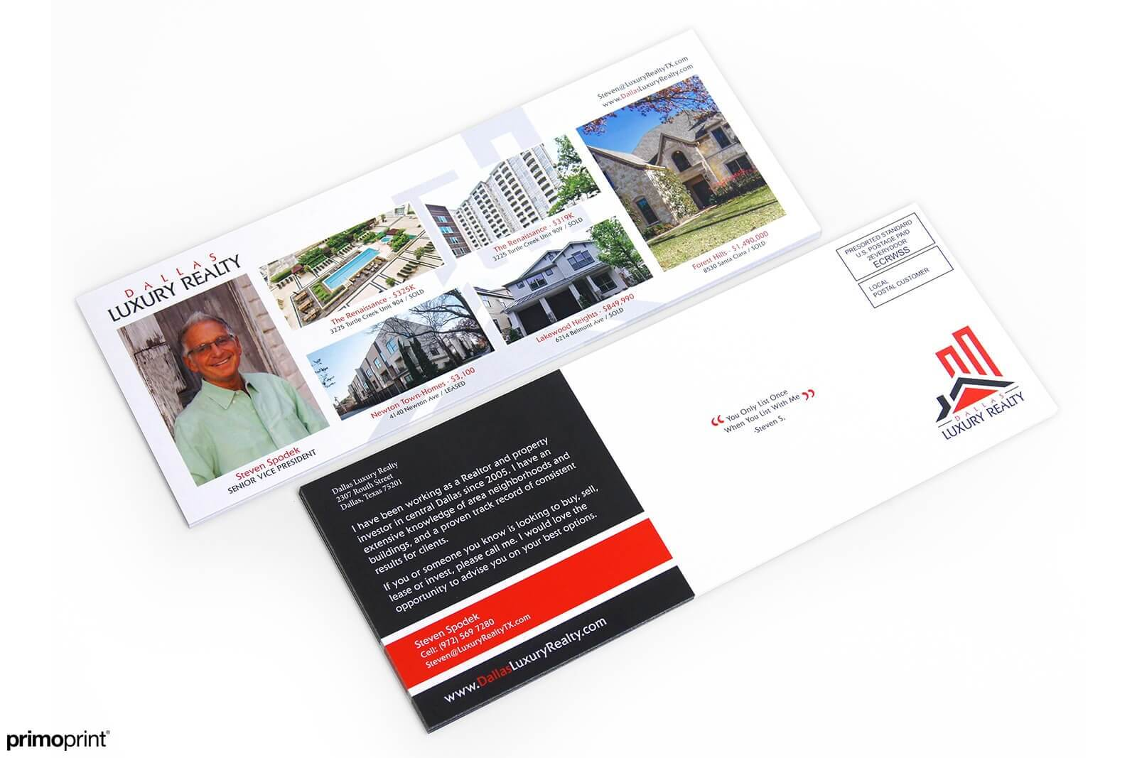 This is an example of a custom designed 4.5 x 12 inch glossy UV coated EDDM postcard printed for a realtor.