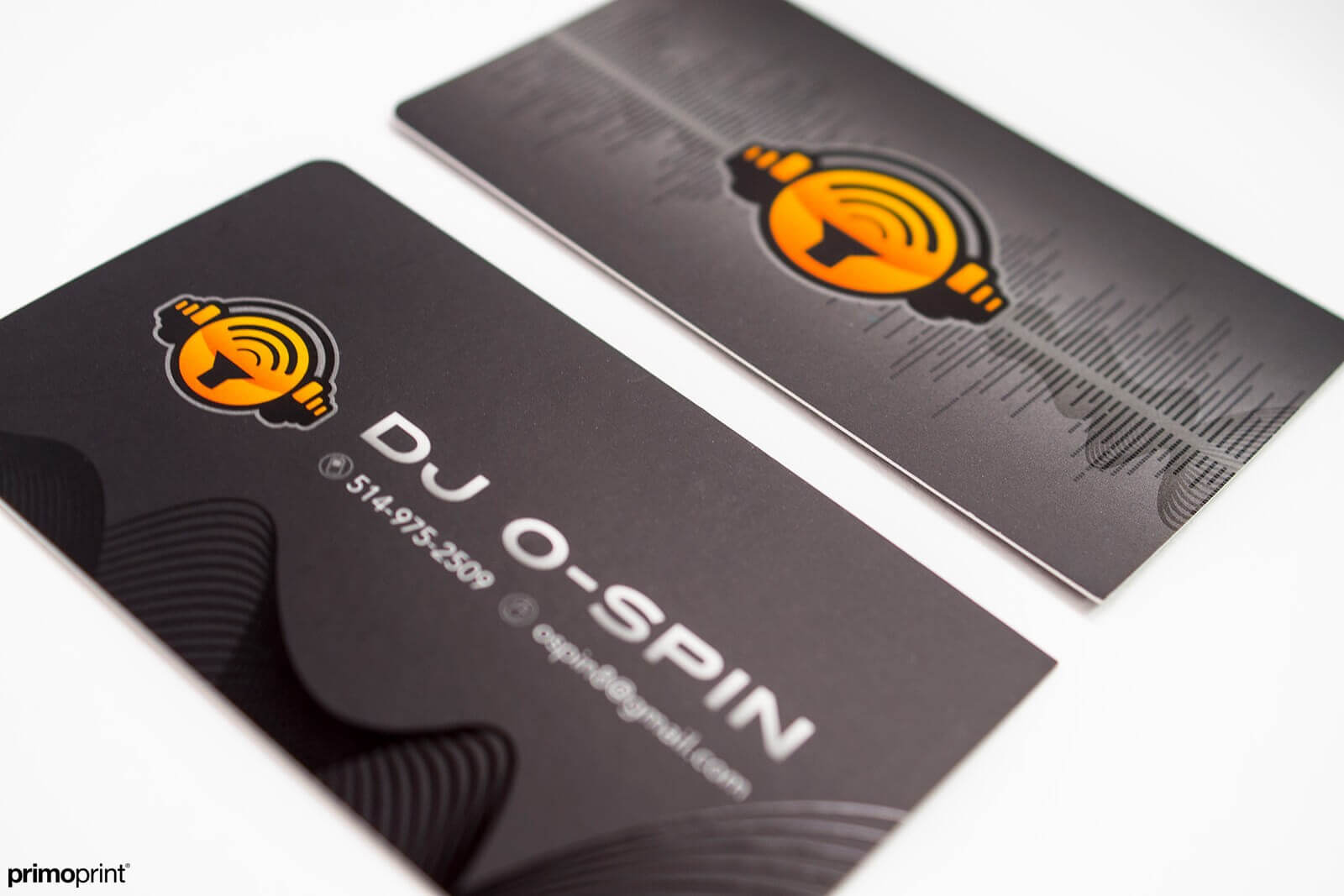 19PT Silk Laminated business card with Spot UV.