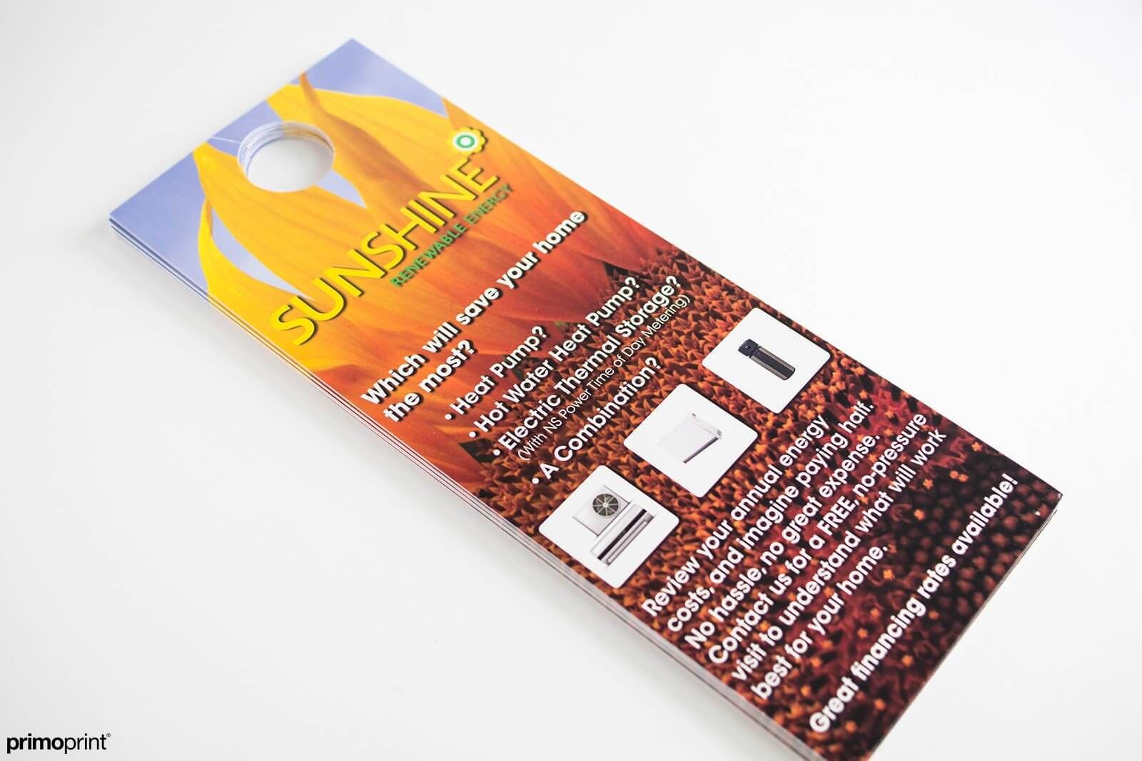 UV Coated Door Hanger printed by Primoprint.