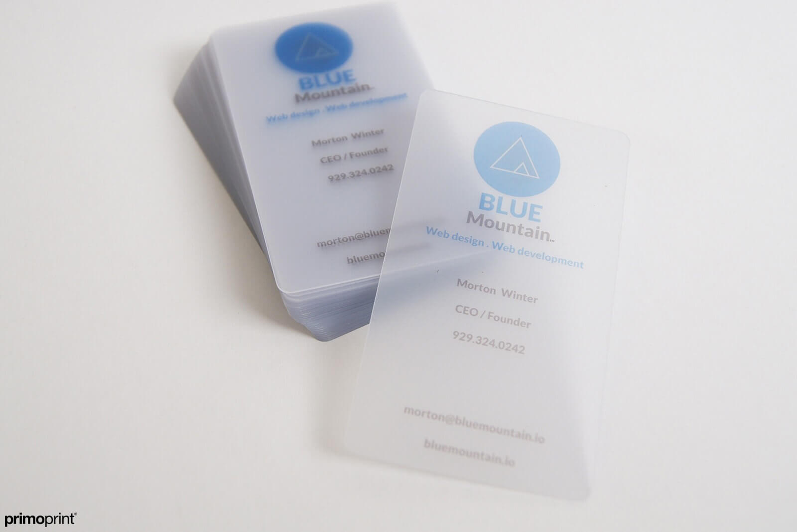 20PT Semi-Opaque Frosted plastic card.