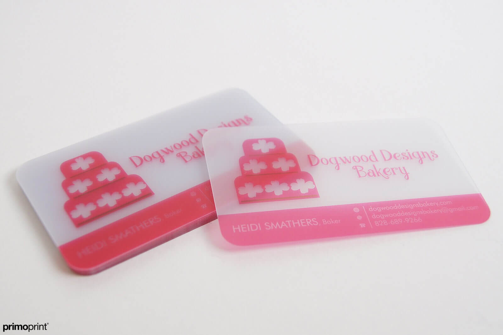 20PT Frosted plastic business card. All come with rounded corners and is printed in USA.