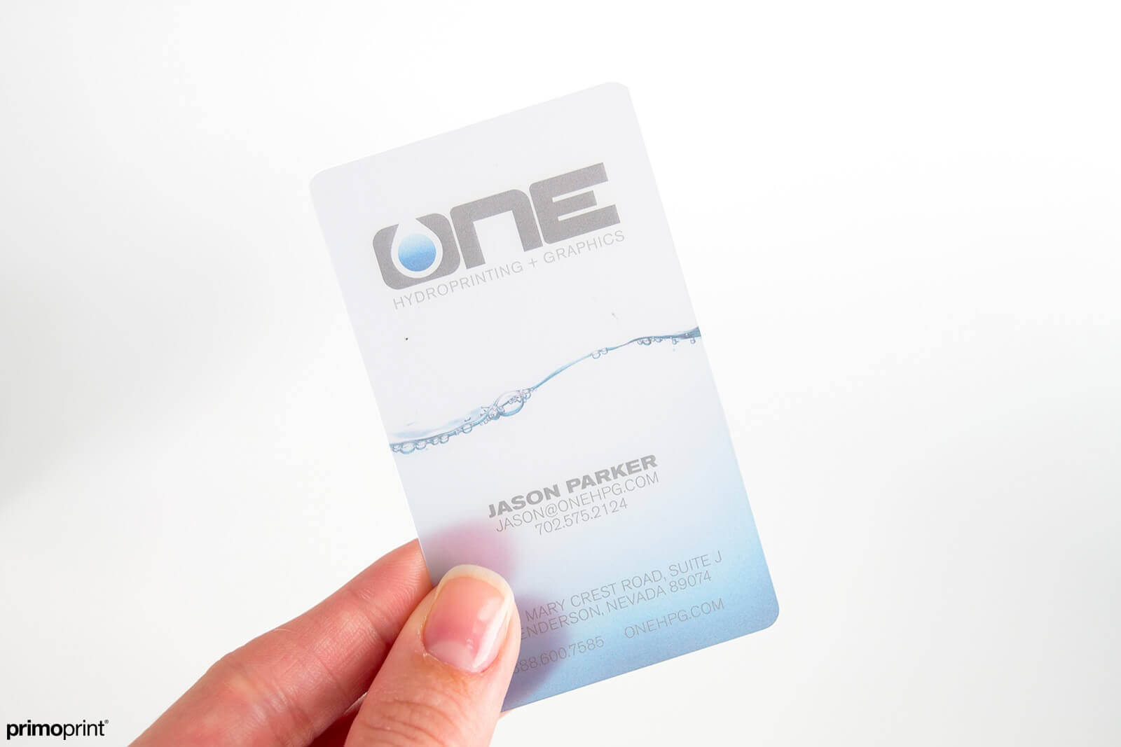 20PT frosted plastic business card. Printed in USA.