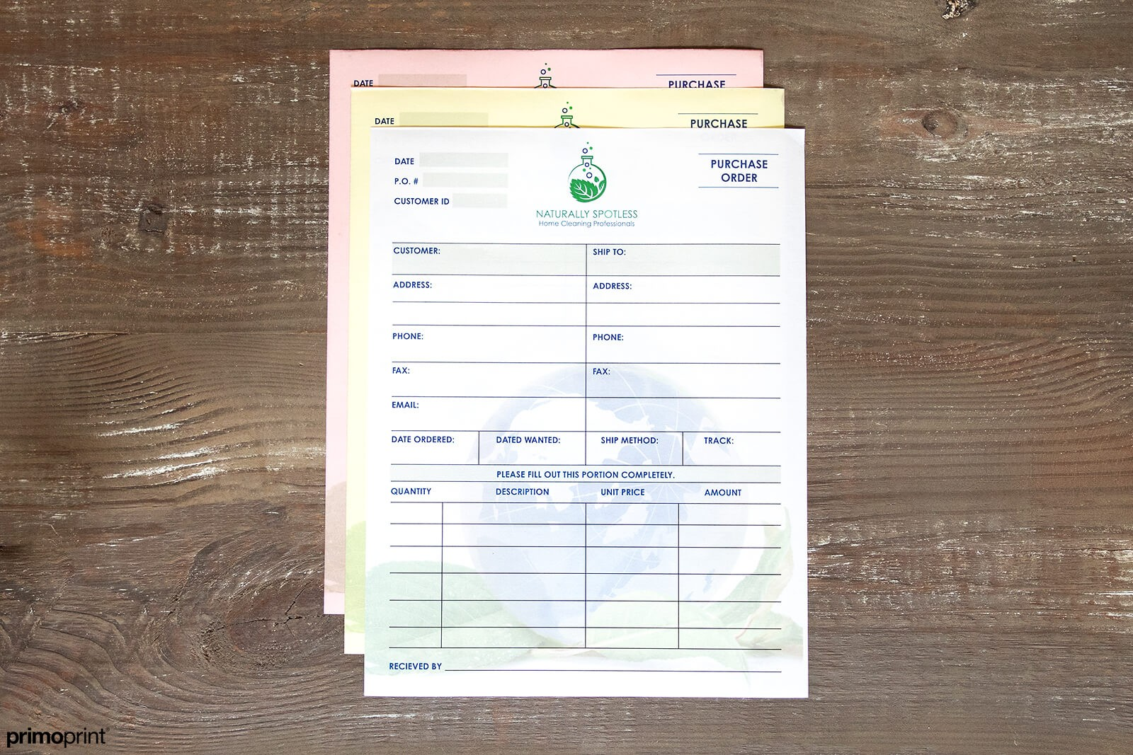 Full-color carbonless NCR form designed by Primoprint.