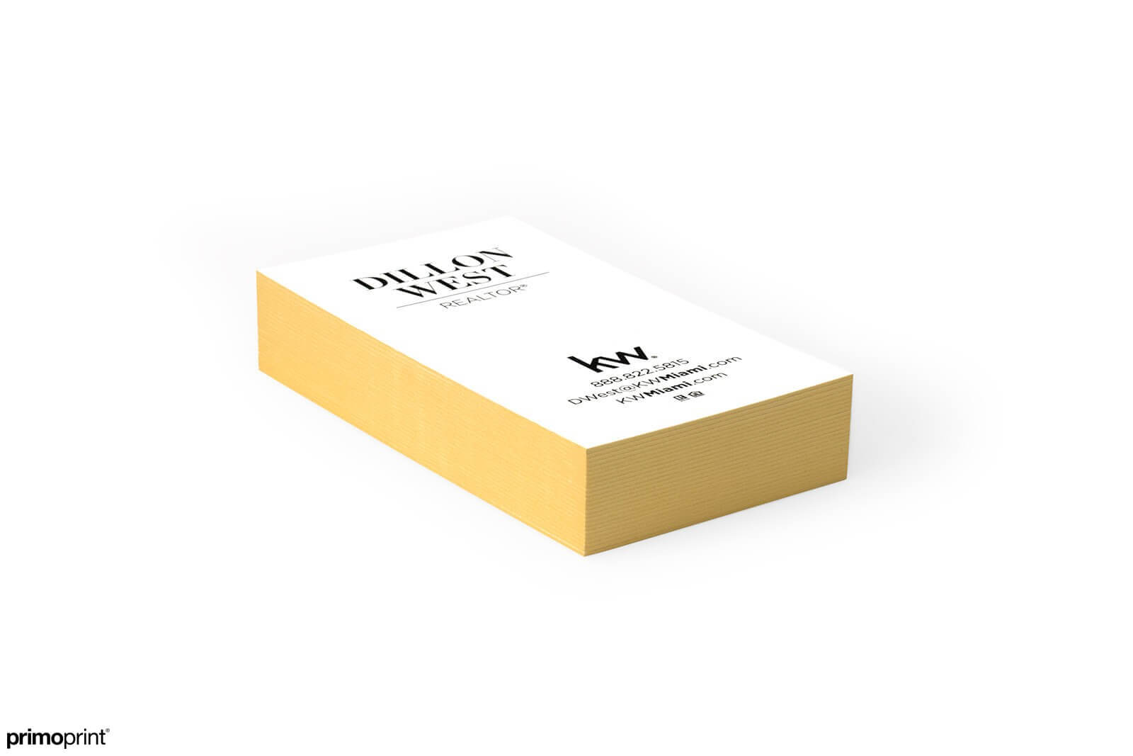 Demand attention with our 32PT uncoated Gold Painted Edge business card designed by Primoprint.