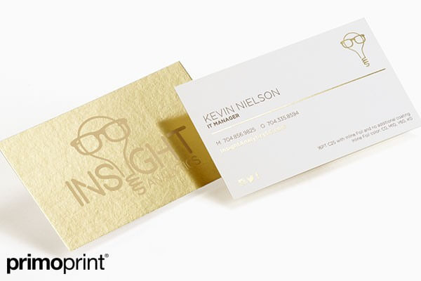 inline foil, business card