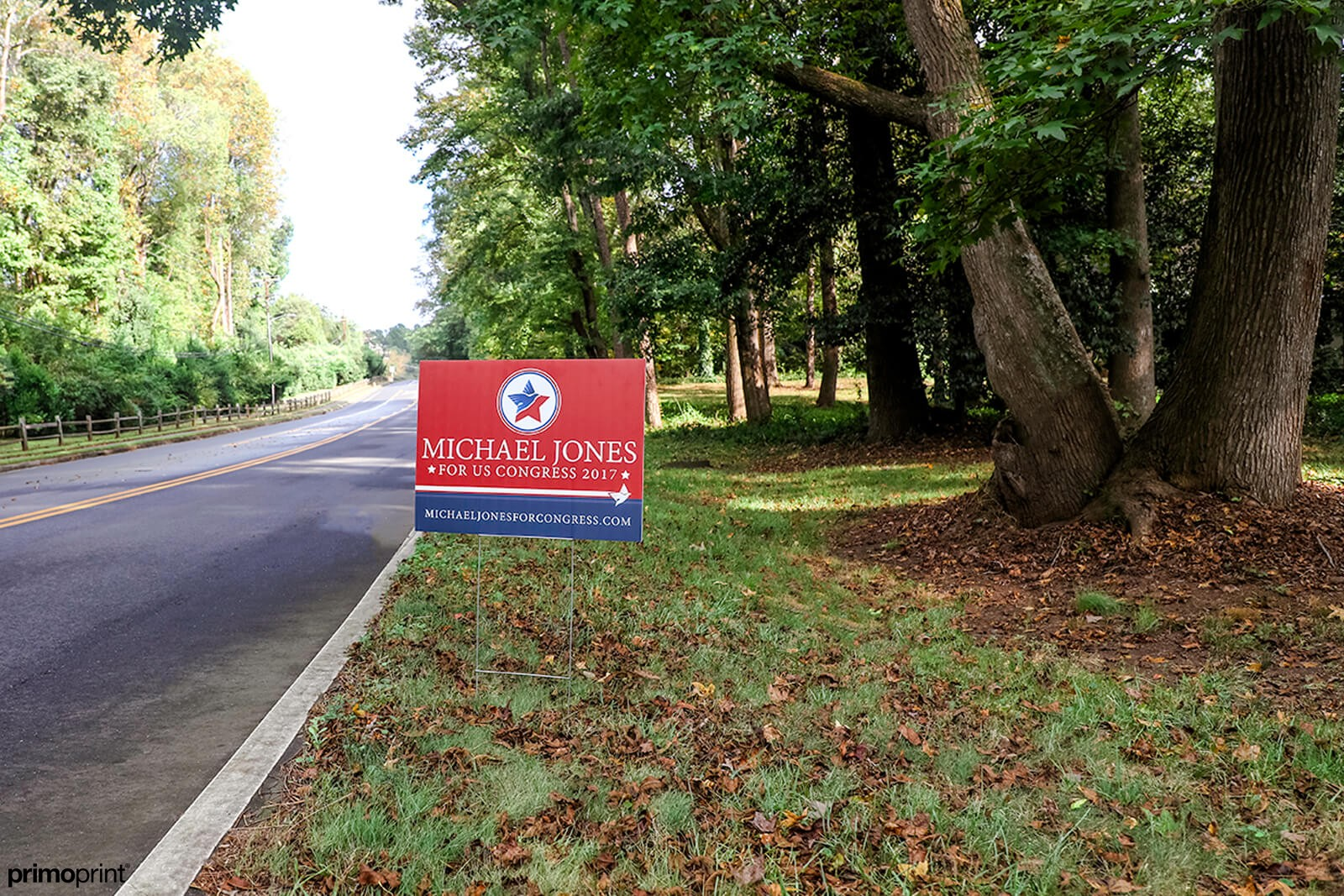 Custom 4mm coroplast campaign yard sign designed and printed by Primoprint.