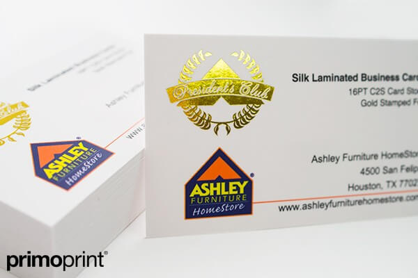 silk laminated buisness card, stamped foil
