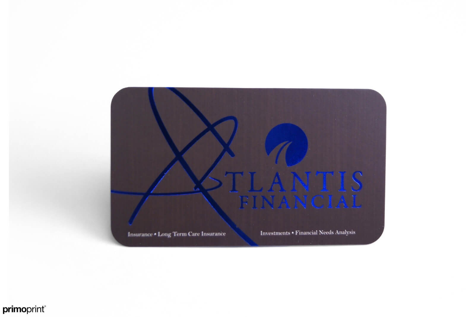 19PT Silk business card with blue Stamped Foil and rounded corners.