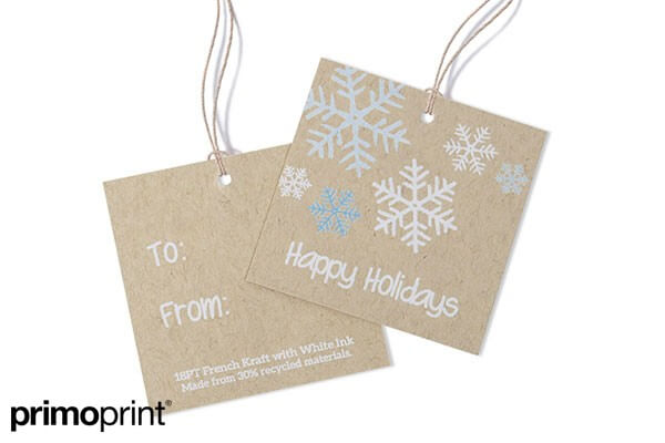 2.5 x 2.5 French Kraft hang tag with white ink. Hang tag designed by Primo Print.