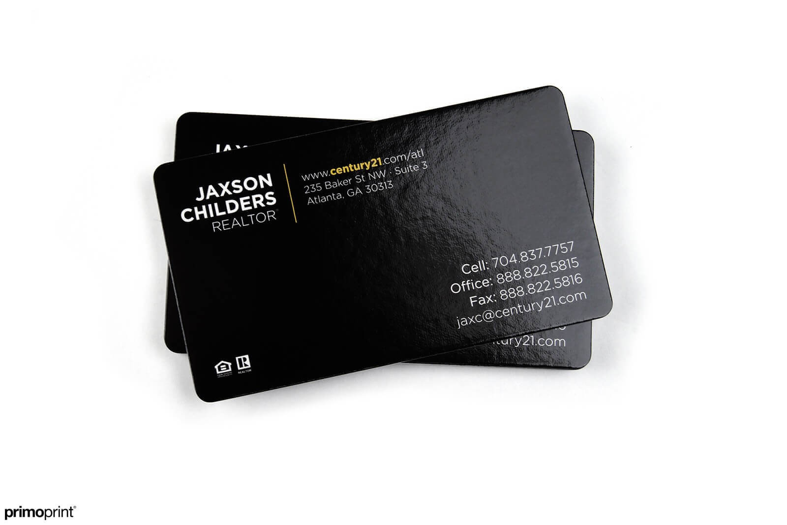 16PT UV Coated Business Cards with 1/8 inch rounded corners.