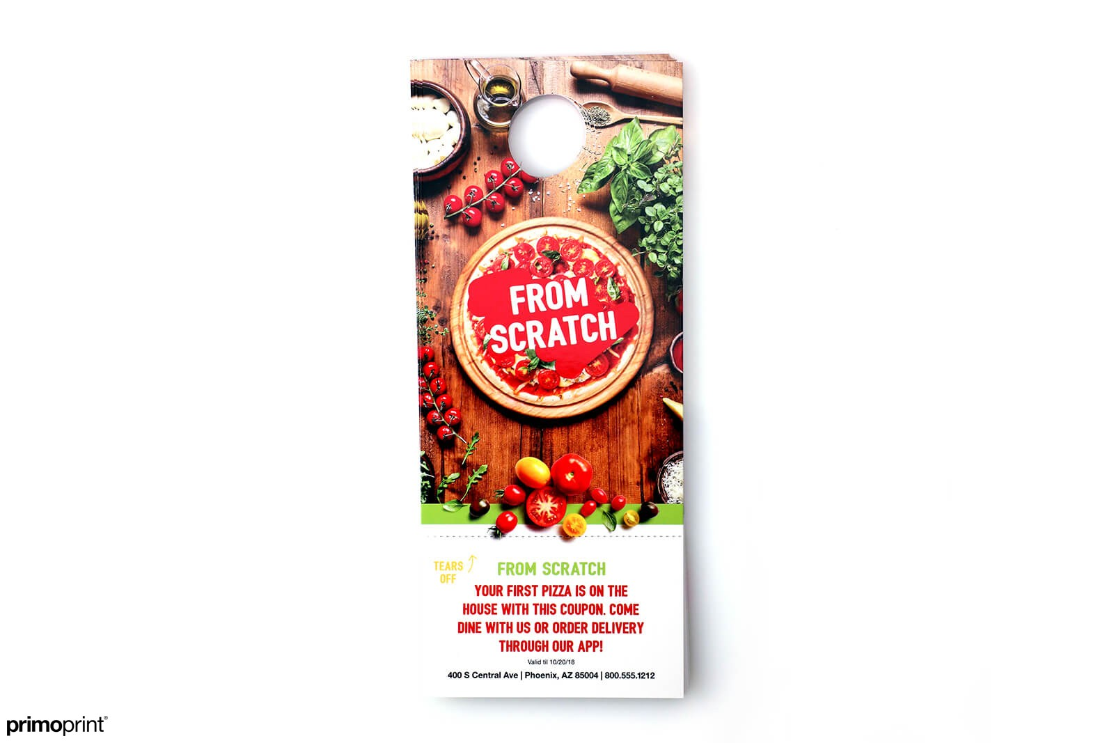Full Color 16PT Glossy UV Coated door hanger printed by Primoprint.