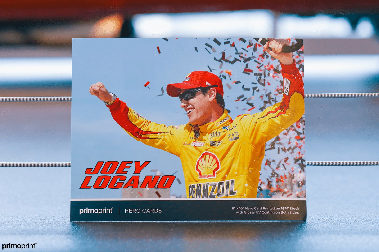 Glossy UV Coated Hero Cards provides a shiny coating that enhances the photos and colors. Great for any race car driver!
