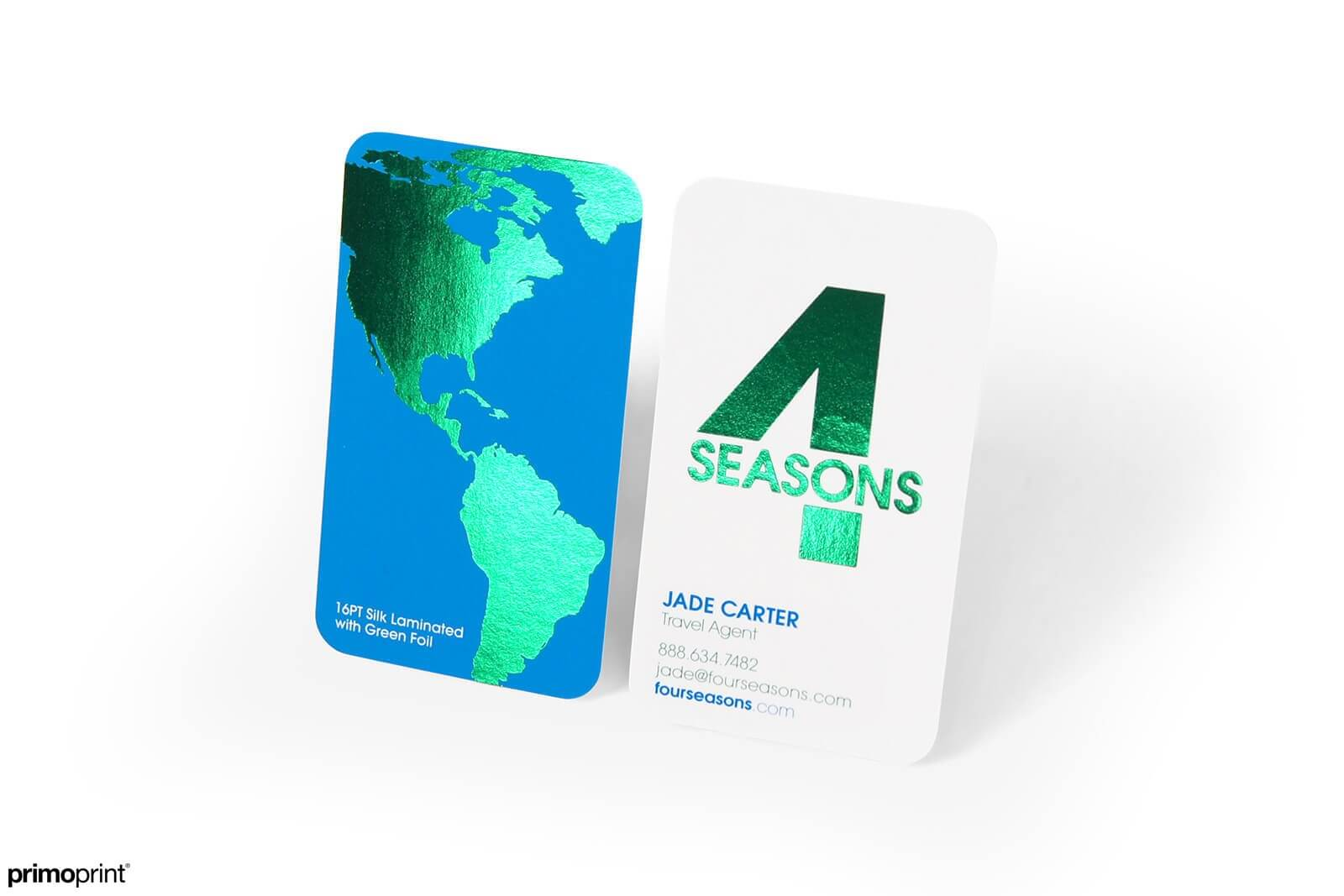 Premium Silk business card with green Stamped Foil with 1/4 rounded corners.