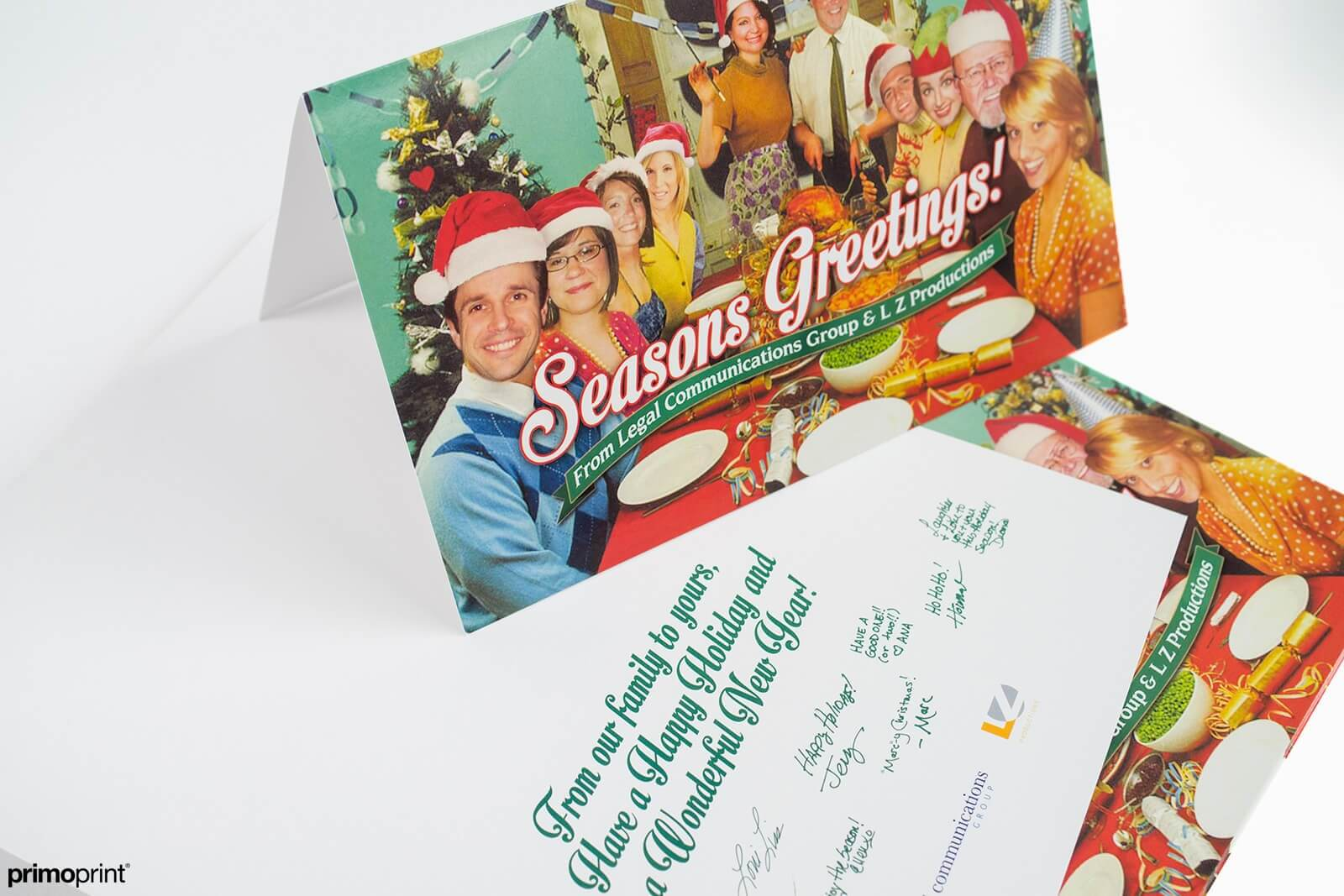 16PT Glossy UV coated Holiday greeting card.