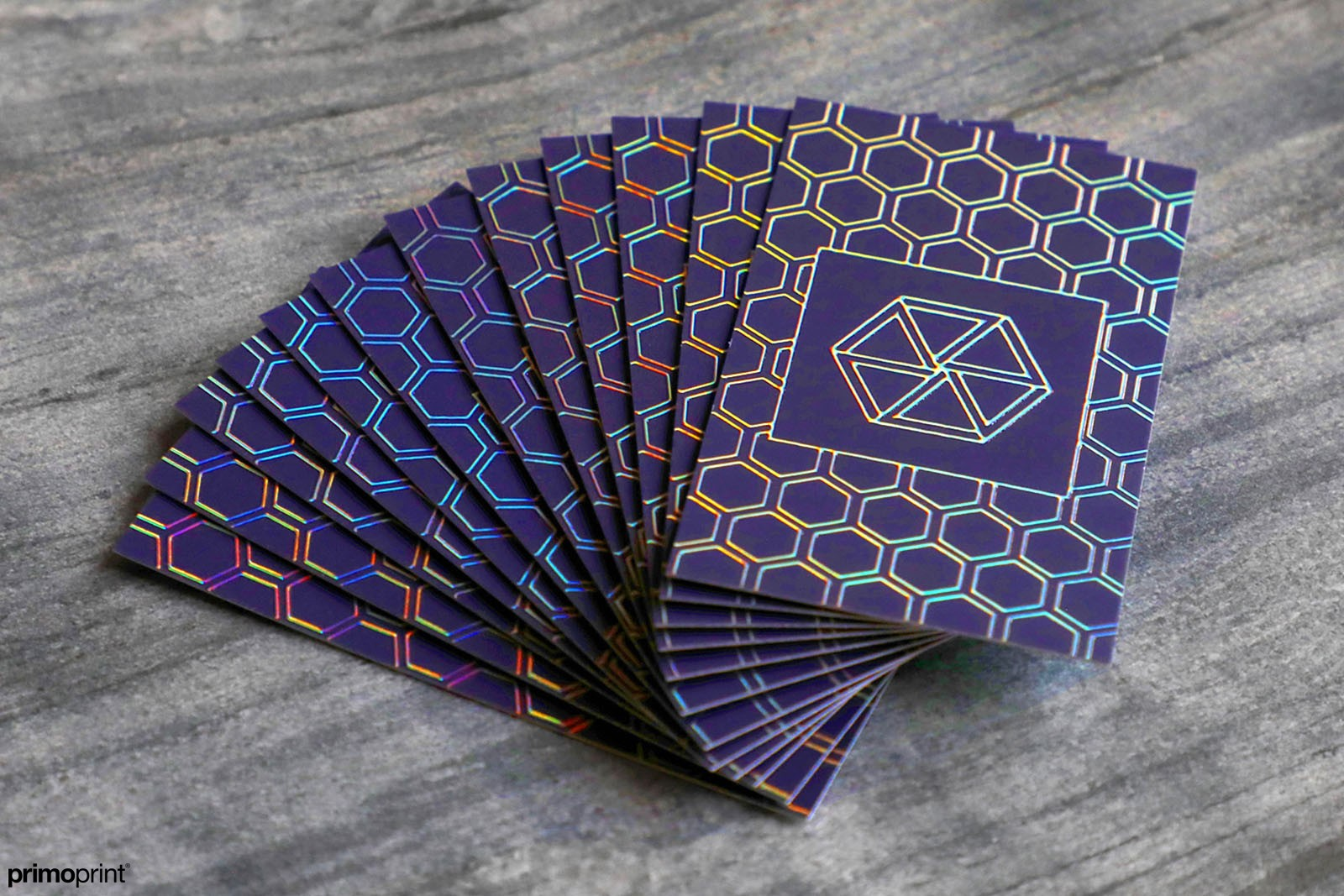 Custom Holographic Business Cards. Provides a unique rainbow color effect.