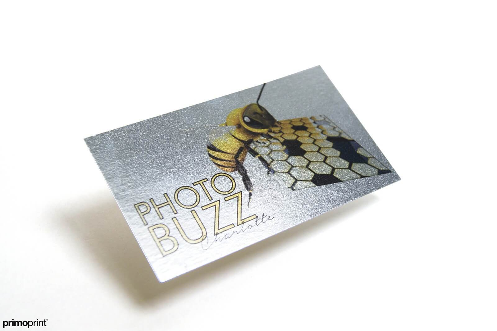 Inline foil business card. With Inline Foil, you can turn a wide range of CMYK colors into multi-colored foils. Business Card designed by Primoprint.