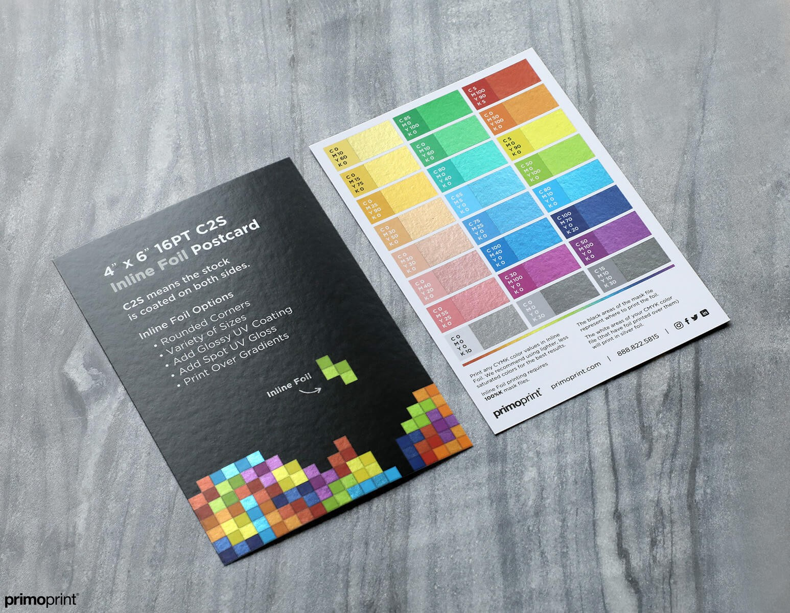 16PT C2S Inline Foil Postcard and Inline Foil Swatch Guide