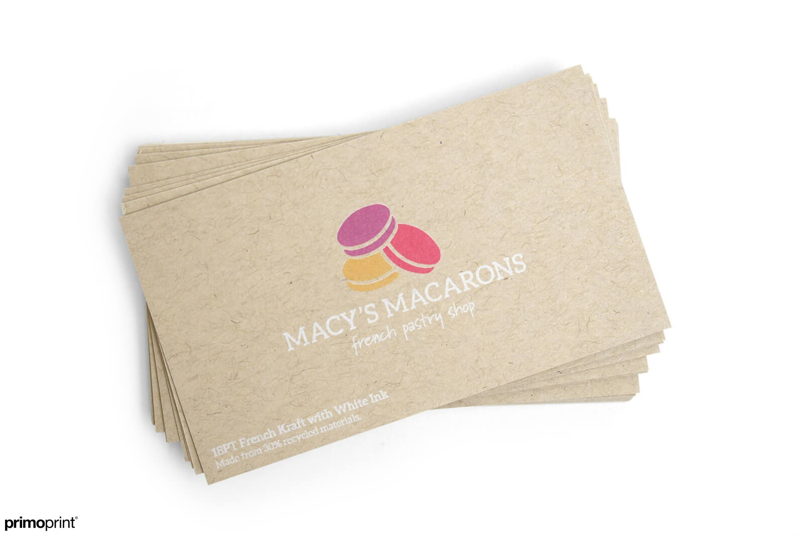 18PT uncoated Kraft business card. This card stock provides a rustic, beautiful appearance and feel. Kraft business card designed by Primoprint.