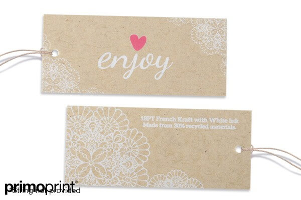 This is an example of a French Kraft hang tag printed and designed by Primo Print.
