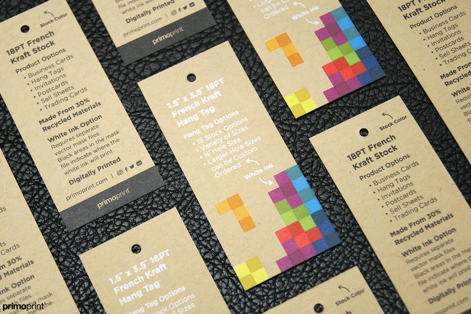 Kraft Hang Tags are made from 30% recycled materials making them an environmentally friendly product.