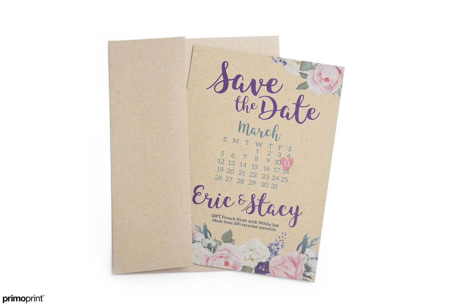 Print your invitations and announcements on Kraft paper stock. It's an elegant and trendy paper stock perfect for any occasion.