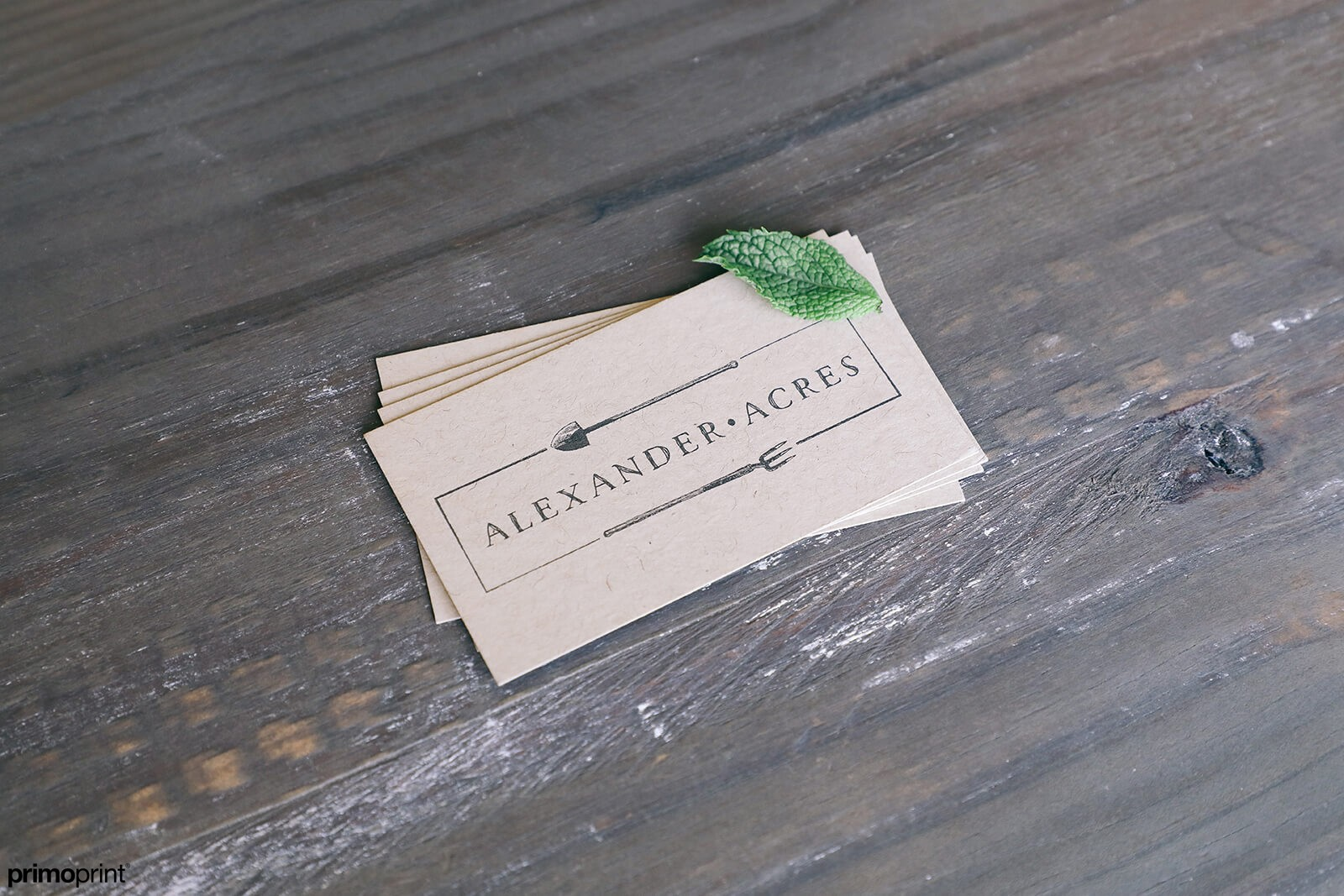 18PT uncoated Kraft business card.