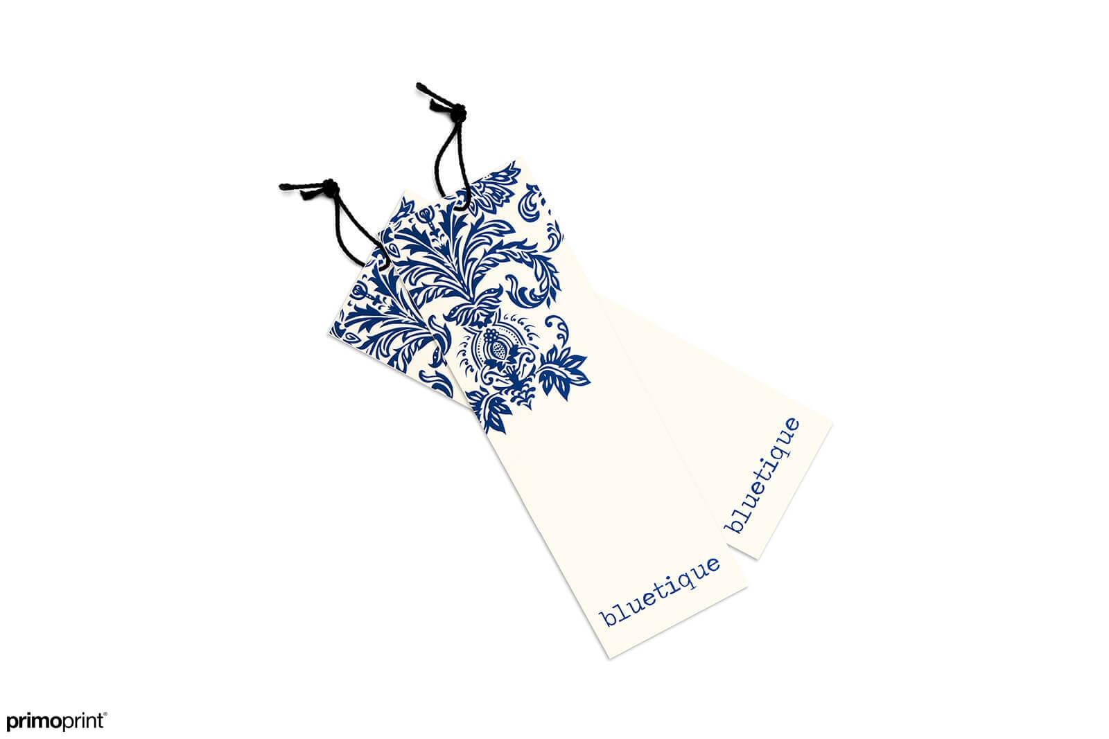 16PT Matte 2x6 hang tag. Hang tag designed by Primoprint.