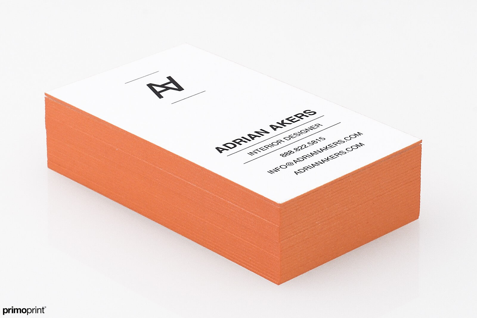 Orange painted edge business card designed by Primoprint.