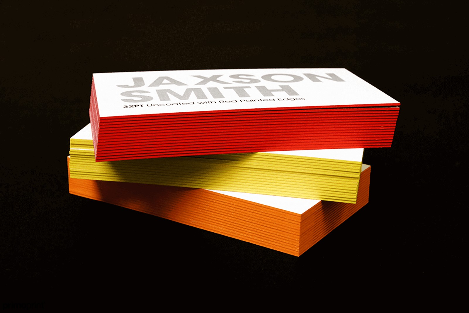 These business cards with colored edges are available at 2'' x 3.5'' with standard corners.