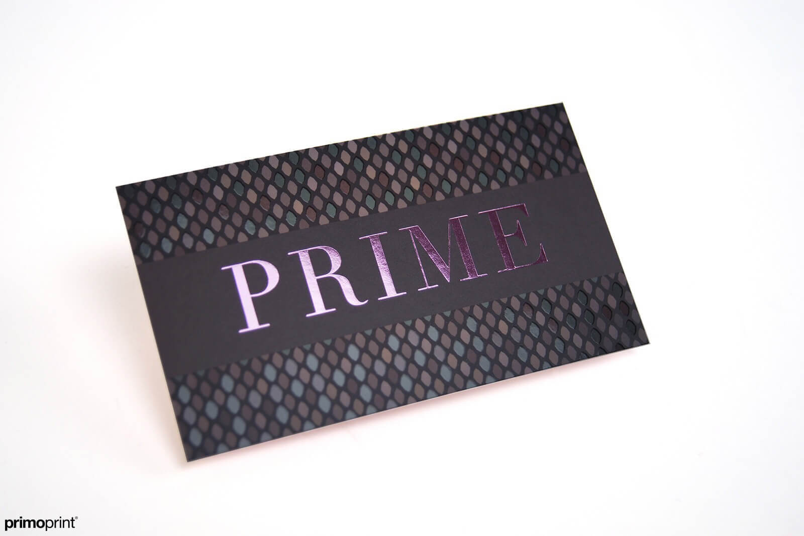 Get noticed with our soft pink stamped foil business card.
