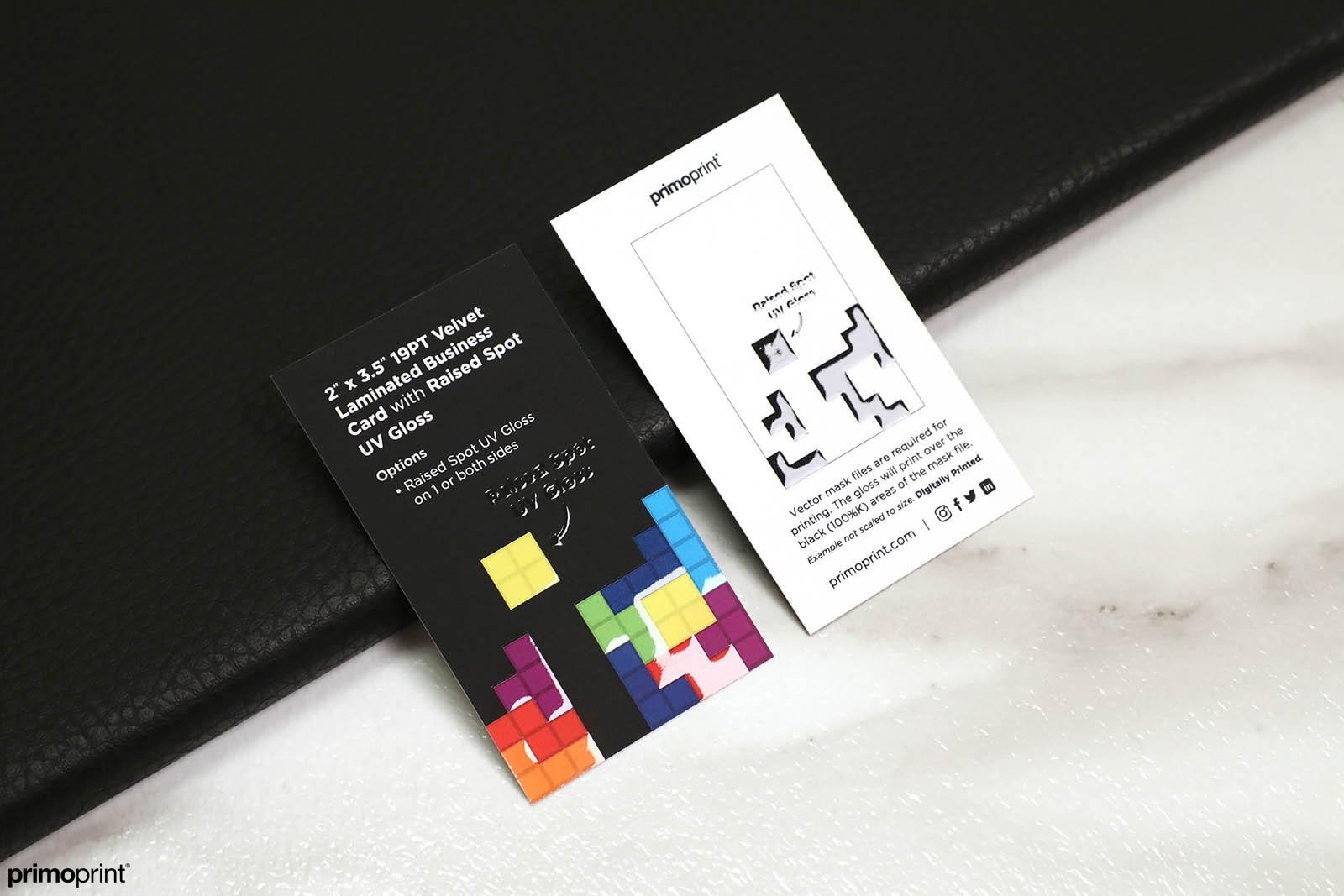 Velvet Laminated Business Card with Raised Spot UV Gloss