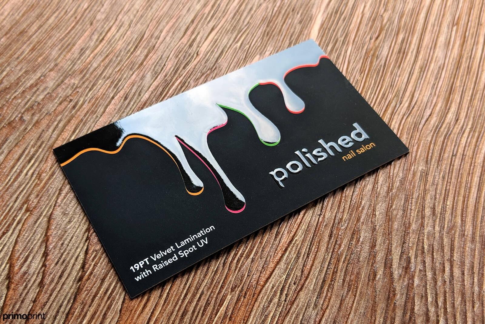 Velvet Laminated Business Card With Raised Spot Uv