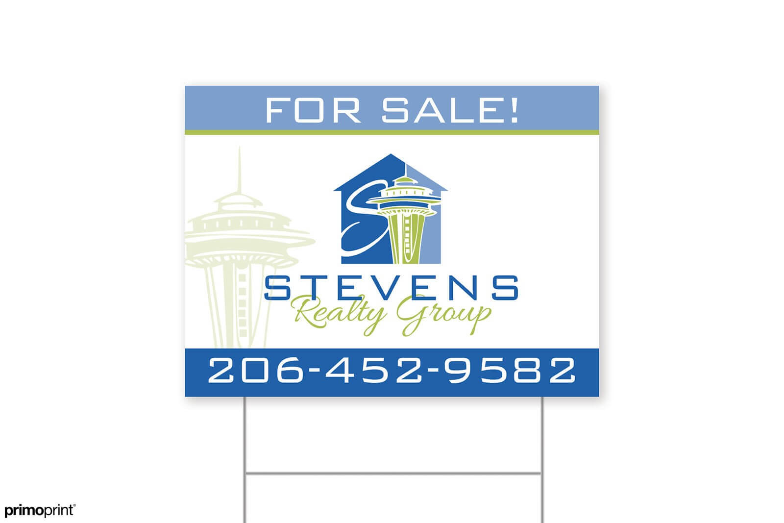 10mm coroplast realtor yard sign designed by Primoprint.