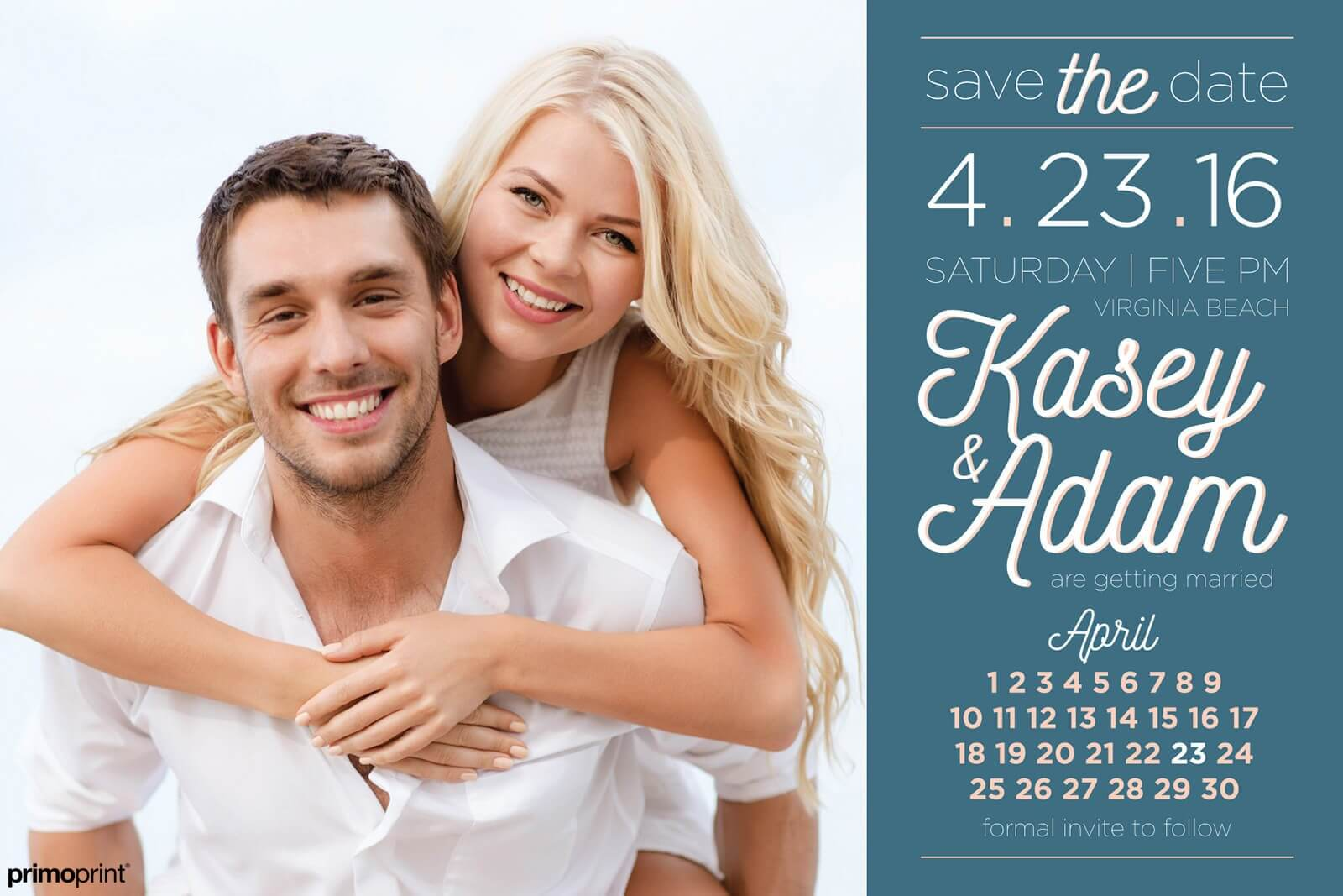 Silk laminated save-the-date. Wedding announcement designed by Primoprint.