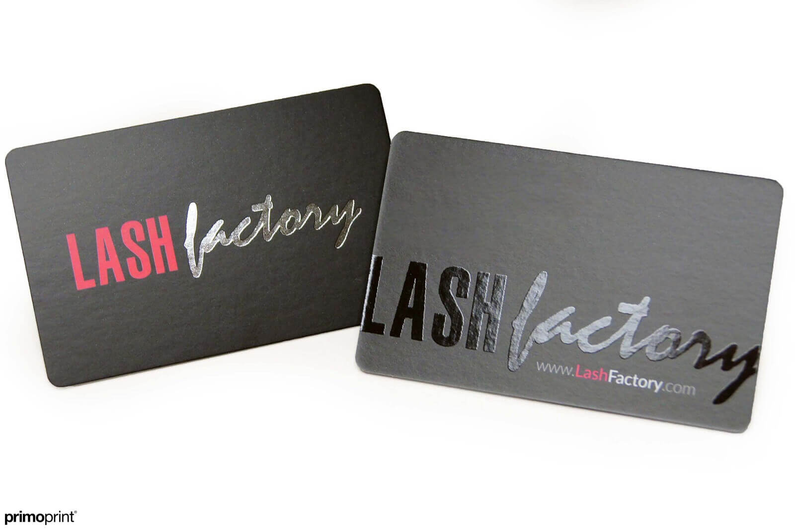 19PT Silk Laminated business cards with silver Stamped Foil and Spot UV.
