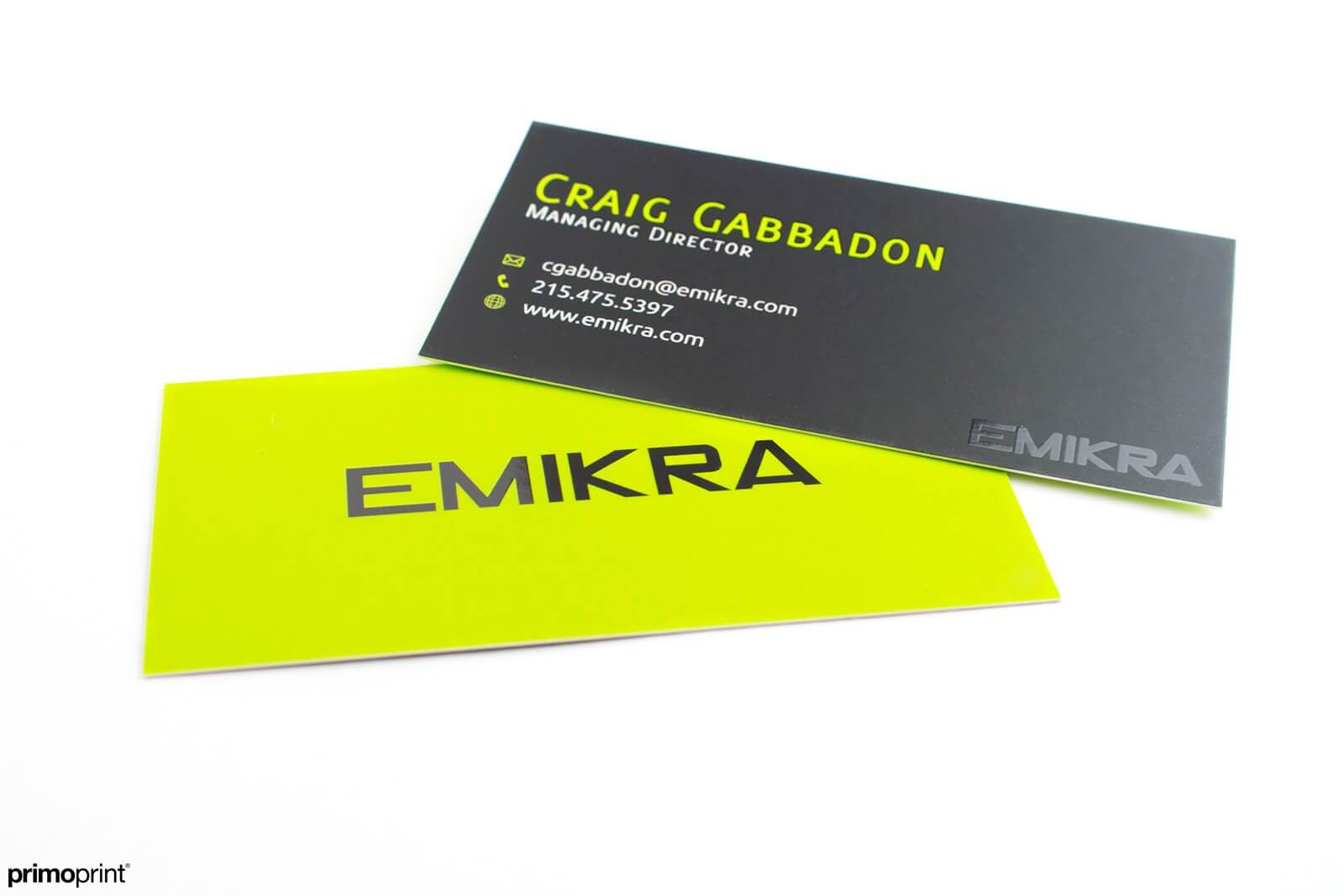 Slim Silk Laminated Business card with Spot UV printed by Primoprint