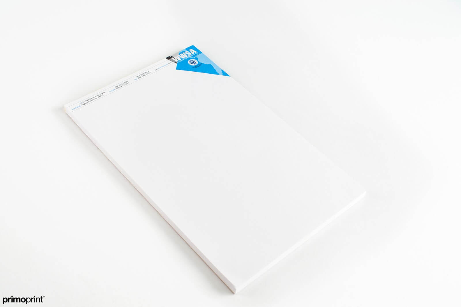 70LB uncoated premium smooth white notepads w/chipboard backer.