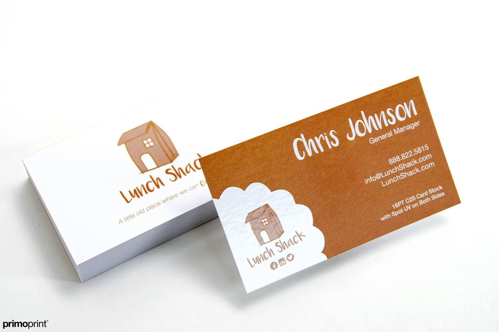 16PT C2S business card with Spot UV on both sides.