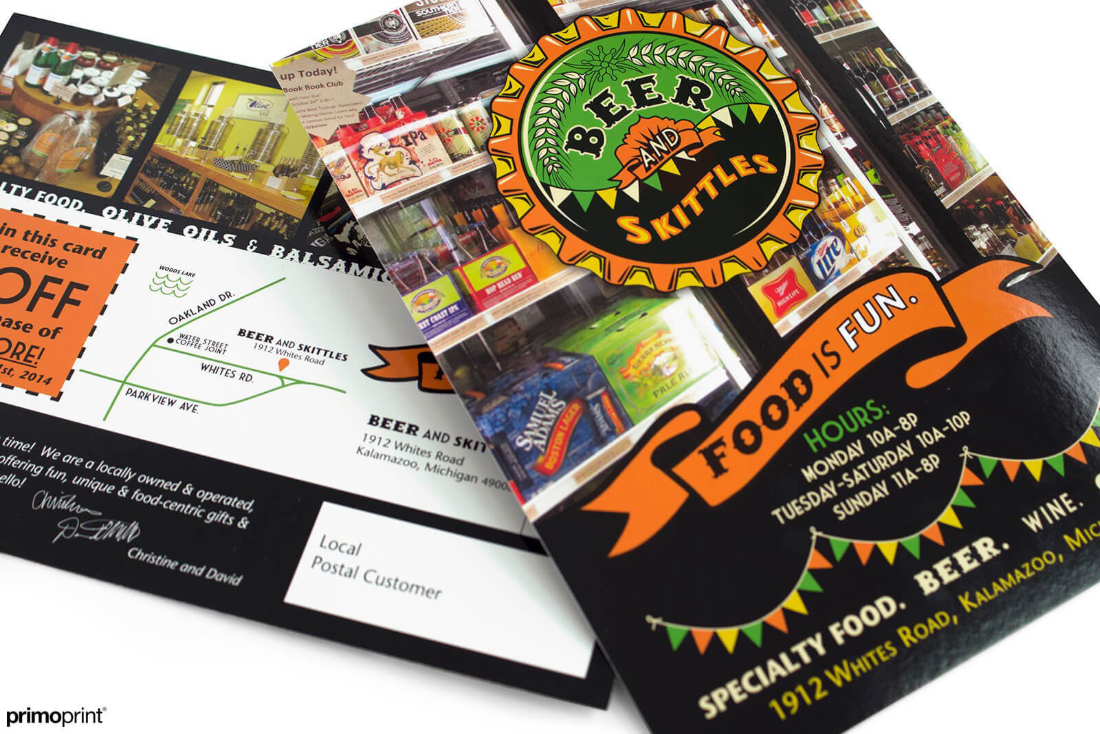 Custom UV Coated Every Door Direct Mail® postcard printed by Primoprint.